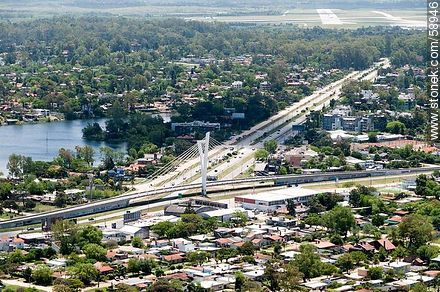 Aerial view of Avenida and Puente de las Américas - Department of Canelones - URUGUAY. Photo #58946