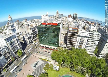 Aerial photo of Avenida 18 de Julio and Julio Herrera y Obes St. Rex Building, Santander and Republica banks - Photos of downtown, URUGUAY. Image #61313