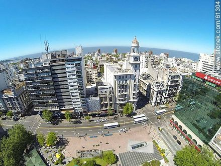 Aerial photo of Avenida 18 de Julio and Julio Herrera y Obes St. Rex Building, Santander and Republica banks - Photos of downtown, URUGUAY. Image #61304