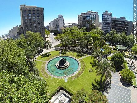 Aerial photo of the Plaza Fabini. Monument to Entrevero - Photos of downtown, URUGUAY. Image #61312