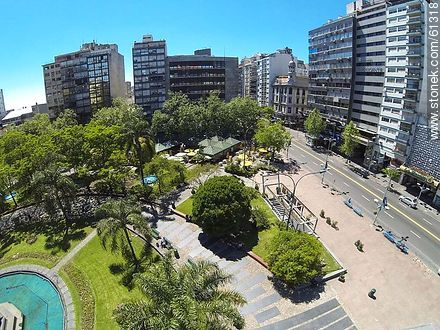 Aerial photo of the Plaza Fabini. Monument to Entrevero - Photos of downtown, URUGUAY. Image #61318