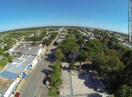Aerial photo of the town of Sauce. Artigas Square.  Carmelo René González Ave. - Photos of the town of Sauce, URUGUAY. Image #61537