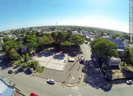 Aerial photo of the town of Sauce. Artigas Square.  Corner of the avenues Artigas and Carmelo René González - Photos of the town of Sauce, URUGUAY. Image #61538