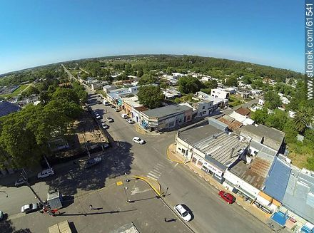 Aerial photo of the town of Sauce. Artigas Square.  Carmelo René González Ave. - Photos of the town of Sauce, URUGUAY. Image #61541