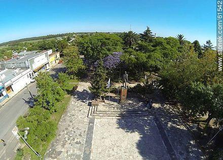 Aerial photo of the town of Sauce. Artigas Square - Photos of the town of Sauce, URUGUAY. Image #61542