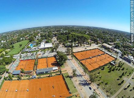 Aerial photo of the tennis courts at the Carrasco Lawn - Photos of Carrasco quarter, URUGUAY. Image #61838