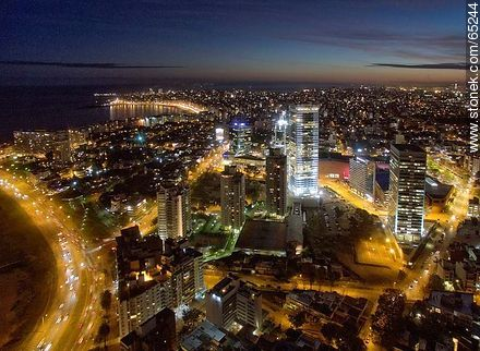 Nocturnal aerial photo of the Rambla Armenia and World Trade Center Montevideo - Photos of Buceo quarter, URUGUAY. Image #65244