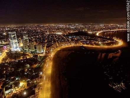 Nocturnal aerial photo of Rambla Armenia - Photos of Buceo quarter, URUGUAY. Image #65242