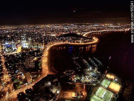 Nocturnal aerial photo of Puerto del Buceo, Yacht Club and Rambla Armenia - Photos of Buceo quarter, URUGUAY. Image #65241
