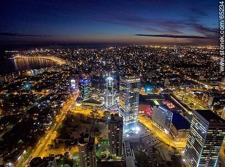 Nocturnal aerial photo of the Rambla Armenia and World Trade Center Montevideo - Photos of Buceo quarter, URUGUAY. Image #65234