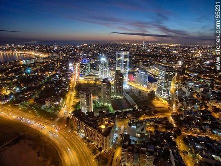Nocturnal aerial photo of the Rambla Armenia and World Trade Center Montevideo - Photos of Buceo quarter, URUGUAY. Image #65231