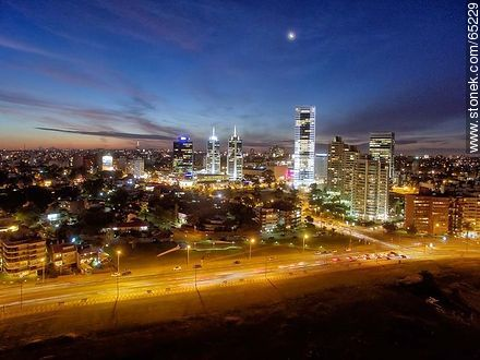 Nocturnal aerial photo of the Rambla Armenia, buildings and towers - Photos of Buceo quarter, URUGUAY. Image #65229