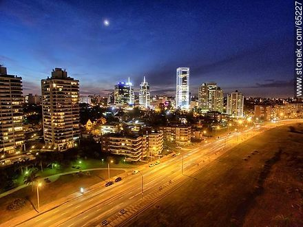 Nocturnal aerial photo of the Rambla Armenia, buildings and towers - Photos of Buceo quarter, URUGUAY. Image #65227