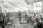 Photo #47970 - Drawing of repairing a ship at Montevideo. year 1814