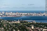 Foto #58148 - Aerial view of the bay and city of Montevideo. Construction of the new fishing port in Capurro (2013)