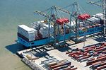 Photo #58249 - Aerial view of cranes at Terminal Cuenca del Plata in operation unloading containers from a freighter Maersk Line