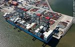 Photo #58247 - Aerial view of cranes at Terminal Cuenca del Plata in operation unloading containers from a freighter Maersk Line
