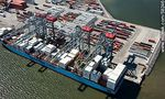 Photo #58246 - Aerial view of cranes at Terminal Cuenca del Plata in operation unloading containers from a freighter Maersk Line