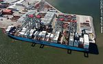 Photo #58245 - Aerial view of cranes at Terminal Cuenca del Plata in operation unloading containers from a freighter Maersk Line