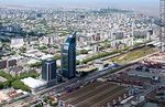 Photo #58938 - Aerial view of sheds and containers of the  port of Montevideo. Antel Tower. Aguada Park
