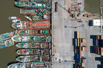 Foto #67212 - Aerial zenithal photo of ships moored from stern to pier