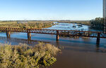 Foto #68526 - Aerial view of the railroad bridge that crosses the Santa Lucía River. Border between Canelones and Florida