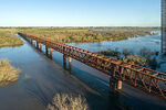 Foto #68533 - Aerial view of the railroad bridge that crosses the Santa Lucía River. Border between Canelones and Florida
