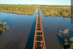 Foto #68545 - Aerial view of the railroad bridge that crosses the Santa Lucía River. Border between Canelones and Florida