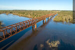 Foto #68547 - Aerial view of the railroad bridge that crosses the Santa Lucía River. Border between Canelones and Florida