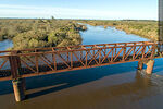 Foto #68549 - Aerial view of the railroad bridge that crosses the Santa Lucía River. Border between Canelones and Florida