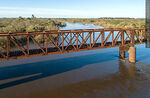 Foto #68553 - Aerial view of the railroad bridge that crosses the Santa Lucía River. Border between Canelones and Florida