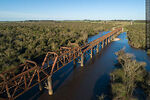 Foto #68560 - Aerial view of the railroad bridge that crosses the Santa Lucía River. Border between Canelones and Florida