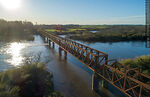 Foto #68561 - Aerial view of the railroad bridge that crosses the Santa Lucía River. Border between Canelones and Florida